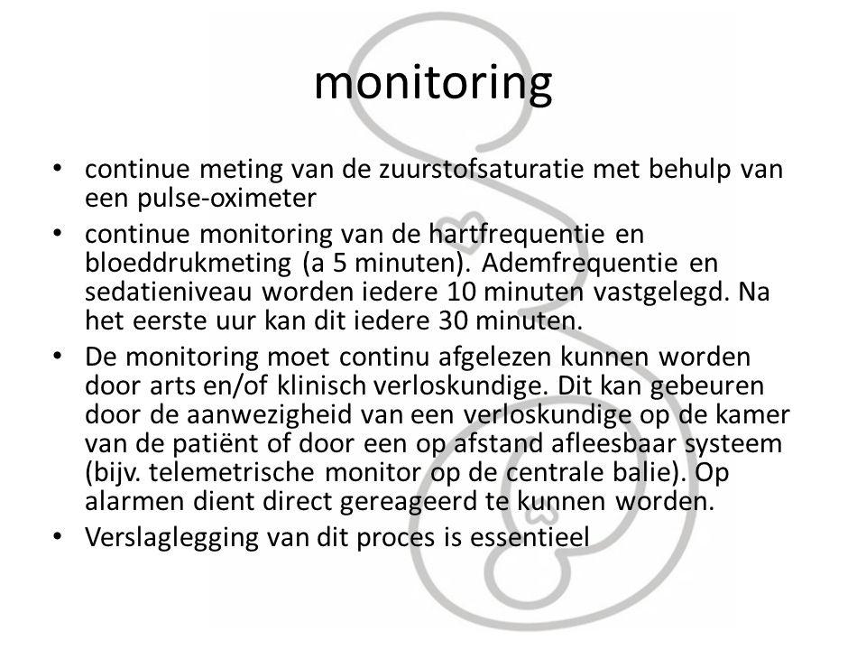 monitoring continue meting van de zuurstofsaturatie met behulp van een pulse-oximeter.