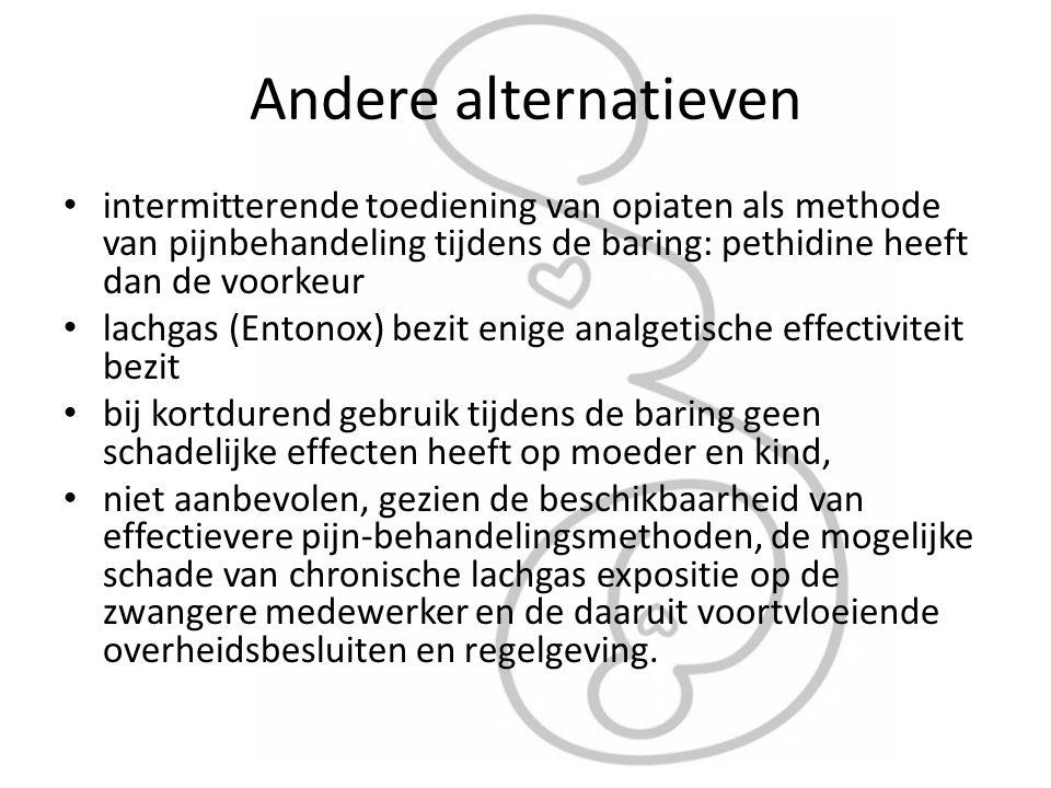 Andere alternatieven intermitterende toediening van opiaten als methode van pijnbehandeling tijdens de baring: pethidine heeft dan de voorkeur.