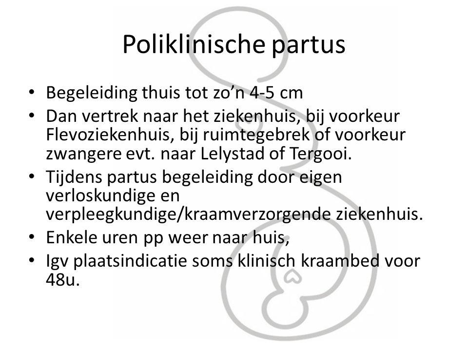 Poliklinische partus Begeleiding thuis tot zo'n 4-5 cm