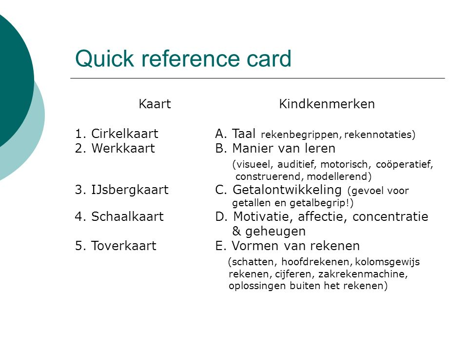 Quick reference card Kaart Kindkenmerken
