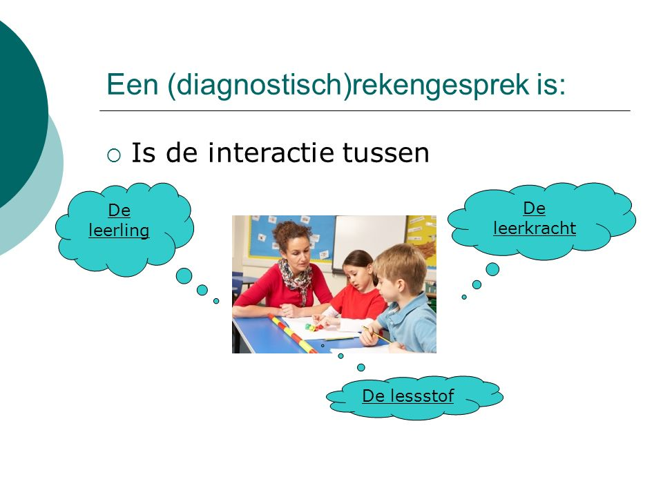 Een (diagnostisch)rekengesprek is: