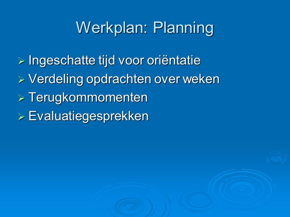 Werkplan: Planning Ingeschatte tijd voor oriëntatie