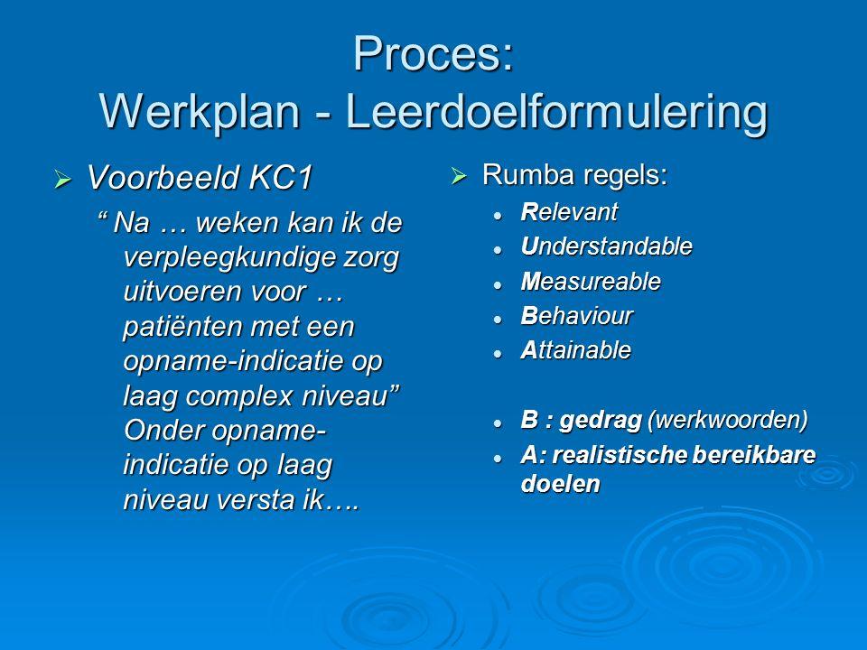 Proces: Werkplan - Leerdoelformulering