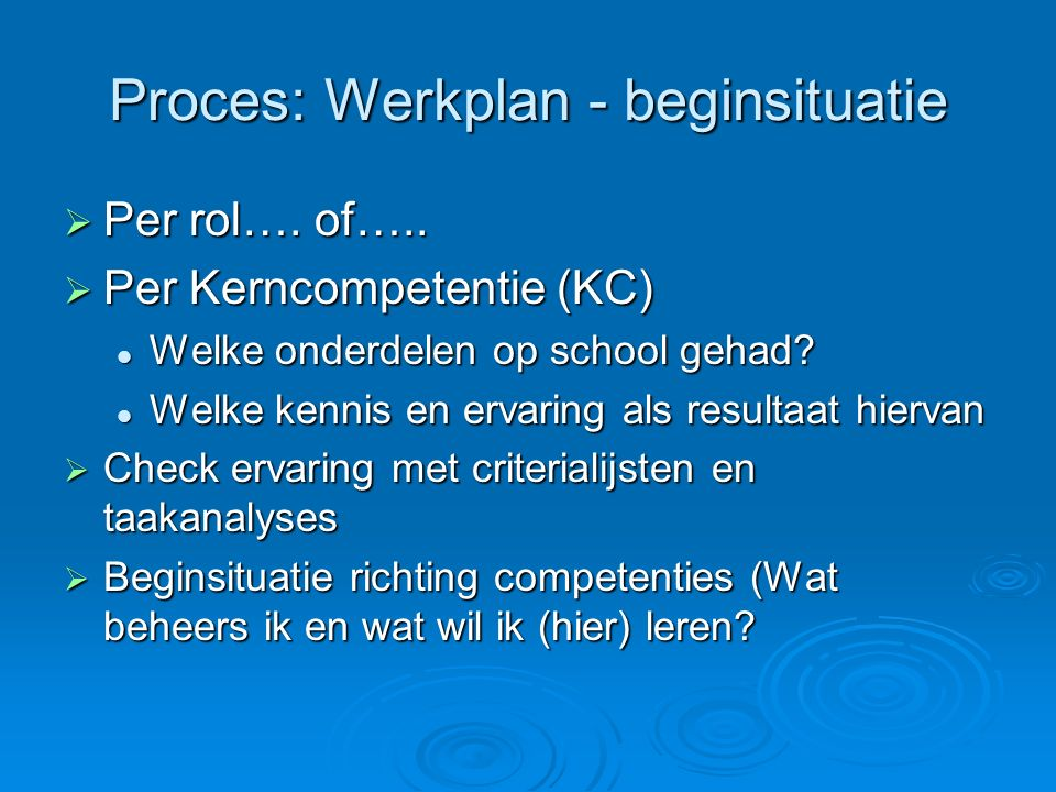 Proces: Werkplan - beginsituatie