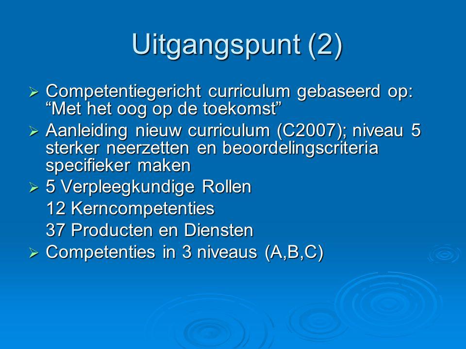Uitgangspunt (2) Competentiegericht curriculum gebaseerd op: Met het oog op de toekomst