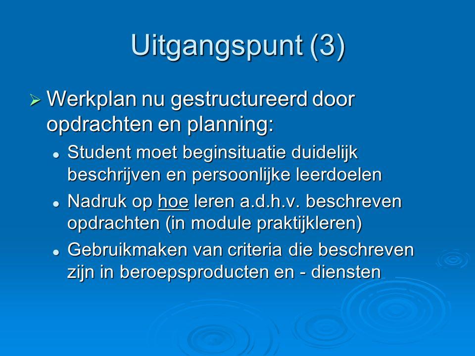 Uitgangspunt (3) Werkplan nu gestructureerd door opdrachten en planning: Student moet beginsituatie duidelijk beschrijven en persoonlijke leerdoelen.