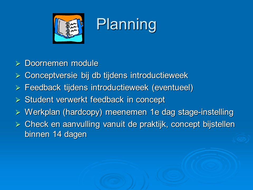 Planning Doornemen module Conceptversie bij db tijdens introductieweek