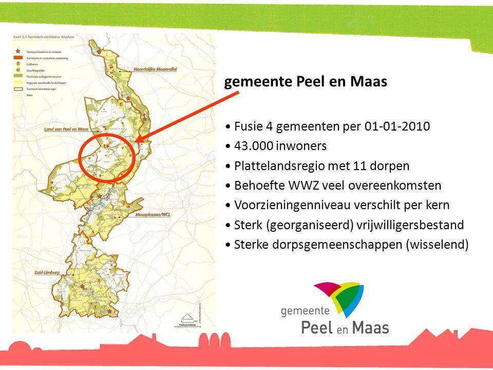 gemeente Peel en Maas Fusie 4 gemeenten per 01-01-2010 43.000 inwoners