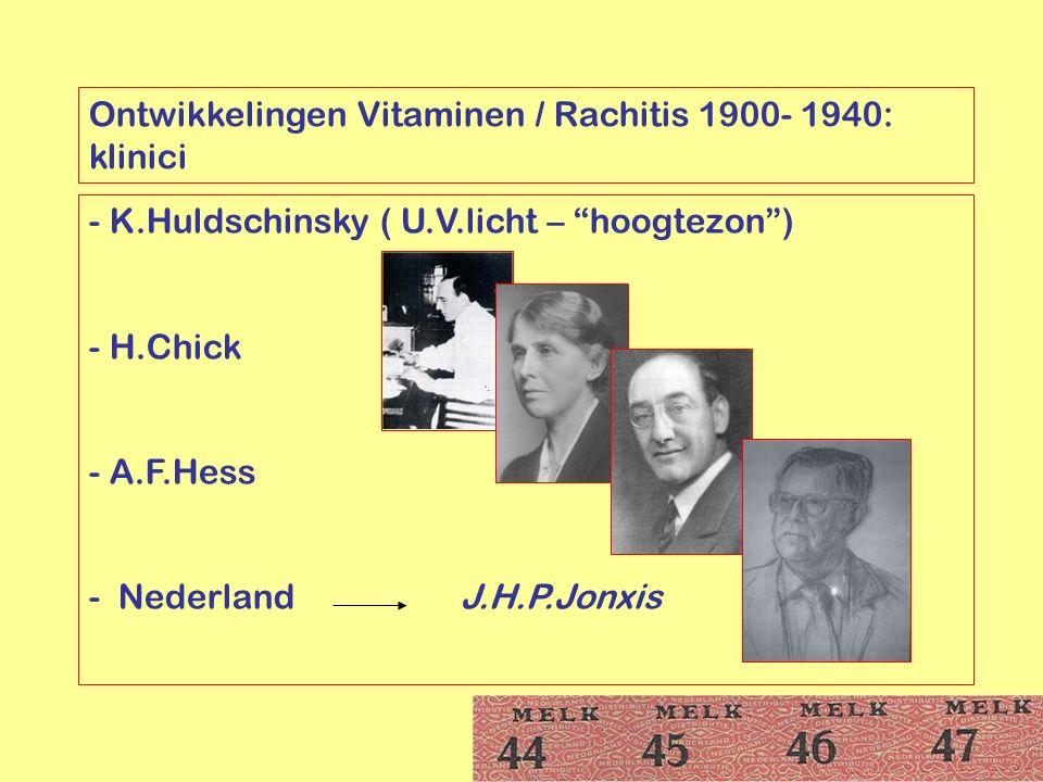 Ontwikkelingen Vitaminen / Rachitis 1900- 1940: klinici
