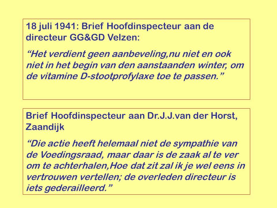 18 juli 1941: Brief Hoofdinspecteur aan de directeur GG&GD Velzen: