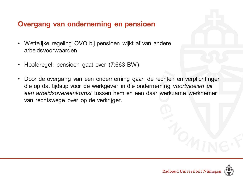 Overgang van onderneming en pensioen