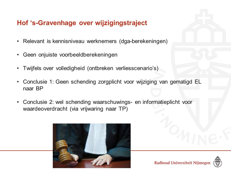Hof 's-Gravenhage over wijzigingstraject