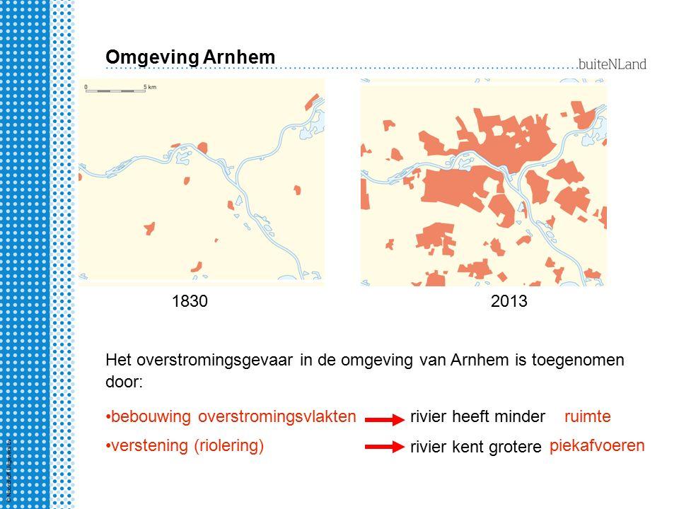 Omgeving Arnhem 1830. 2013. Het overstromingsgevaar in de omgeving van Arnhem is toegenomen door: