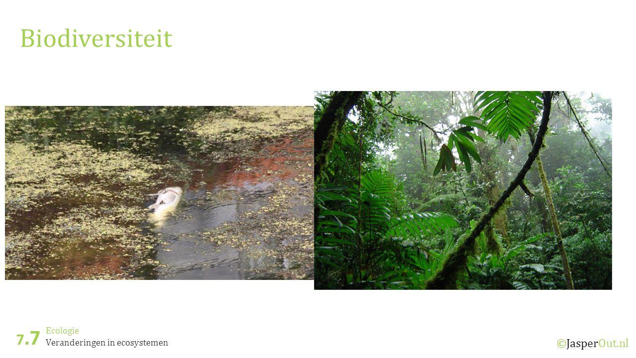 Biodiversiteit 7.7 Ecologie Veranderingen in ecosystemen ©JasperOut.nl