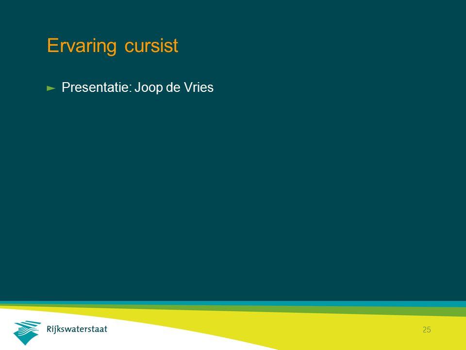 Ervaring cursist Presentatie: Joop de Vries