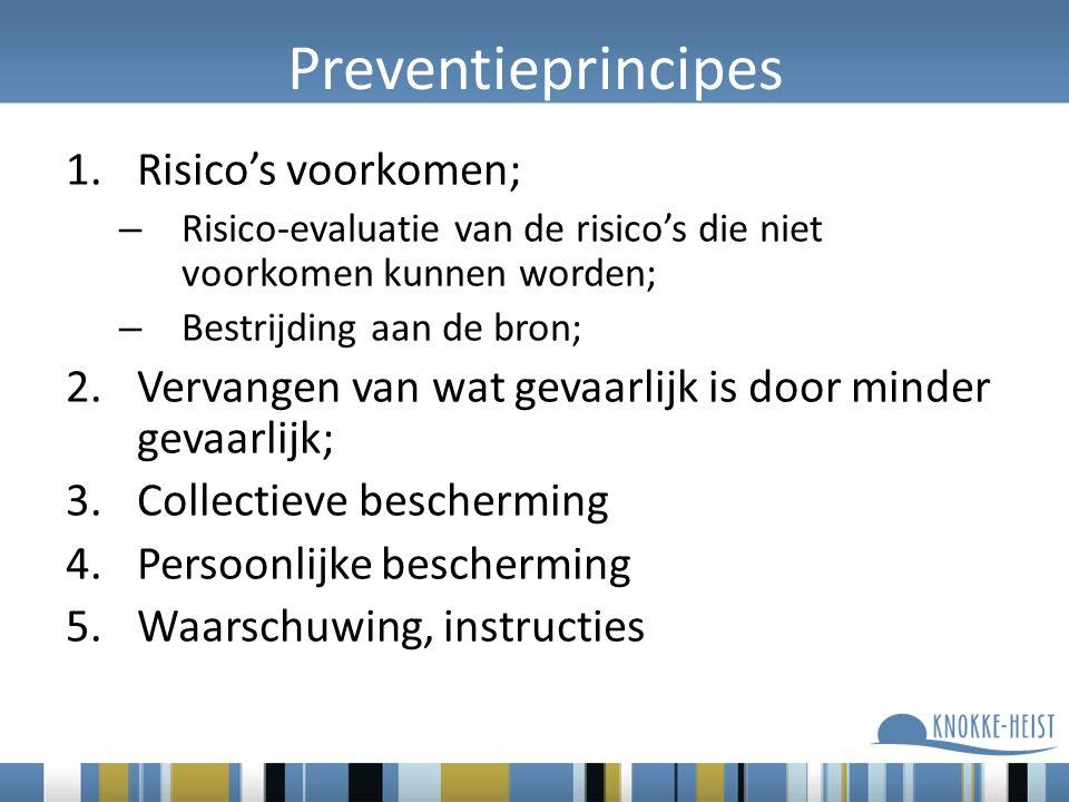 Preventieprincipes Risico's voorkomen;