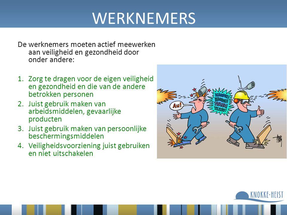 WERKNEMERS De werknemers moeten actief meewerken aan veiligheid en gezondheid door onder andere: