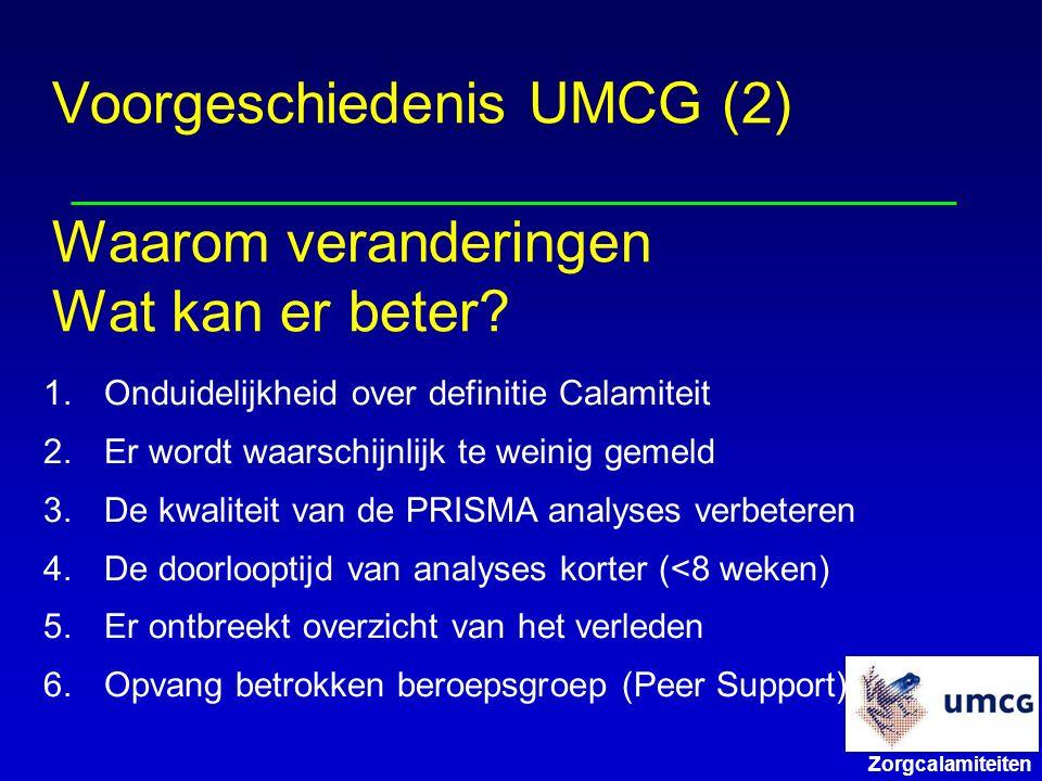 Voorgeschiedenis UMCG (2) Waarom veranderingen Wat kan er beter