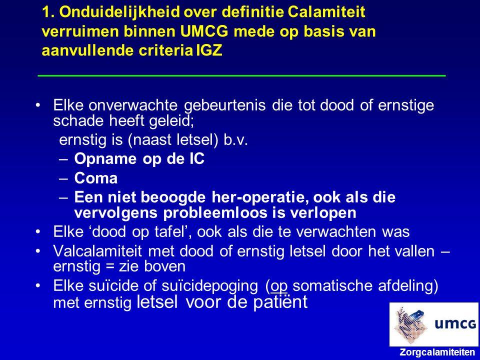 1. Onduidelijkheid over definitie Calamiteit verruimen binnen UMCG mede op basis van aanvullende criteria IGZ