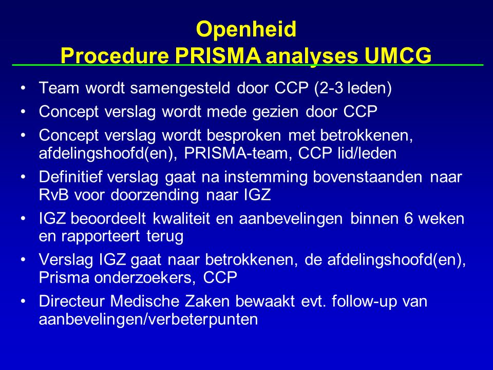 Openheid Procedure PRISMA analyses UMCG