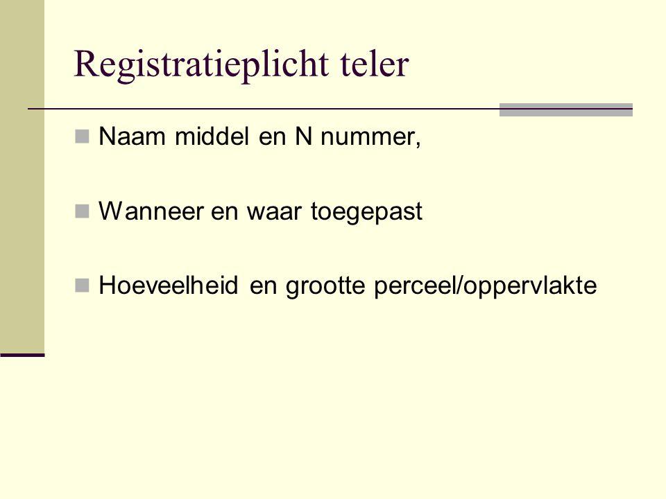 Registratieplicht teler