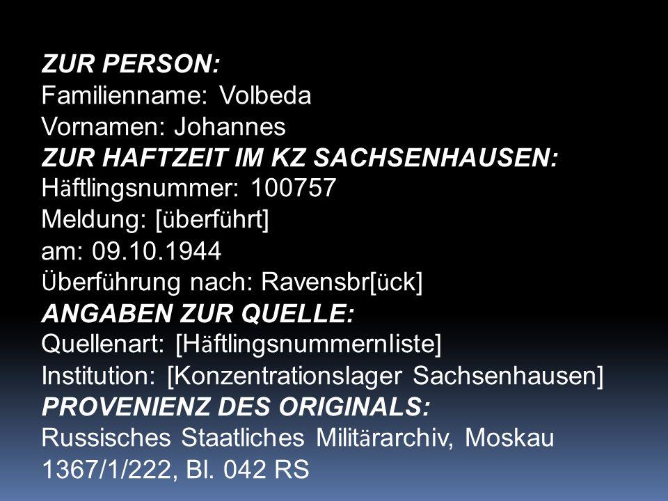 Familienname: Volbeda Vornamen: Johannes