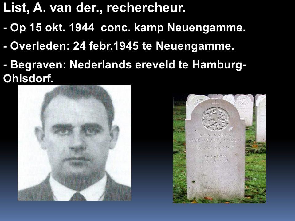 List, A. van der., rechercheur.