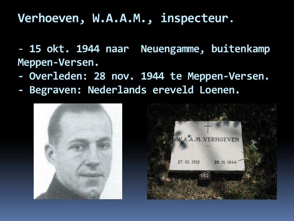 Verhoeven, W. A. A. M. , inspecteur. - 15 okt