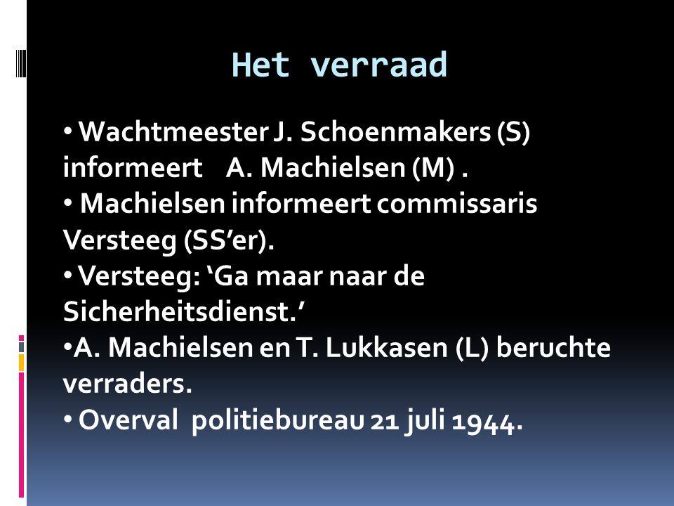 Het verraad Wachtmeester J. Schoenmakers (S) informeert A. Machielsen (M) . Machielsen informeert commissaris Versteeg (SS'er).