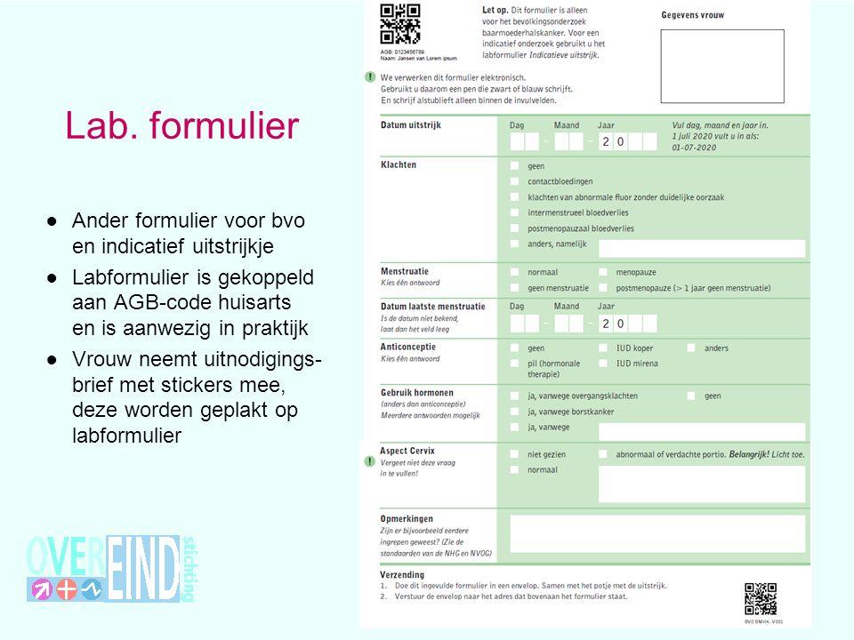Lab. formulier Ander formulier voor bvo en indicatief uitstrijkje