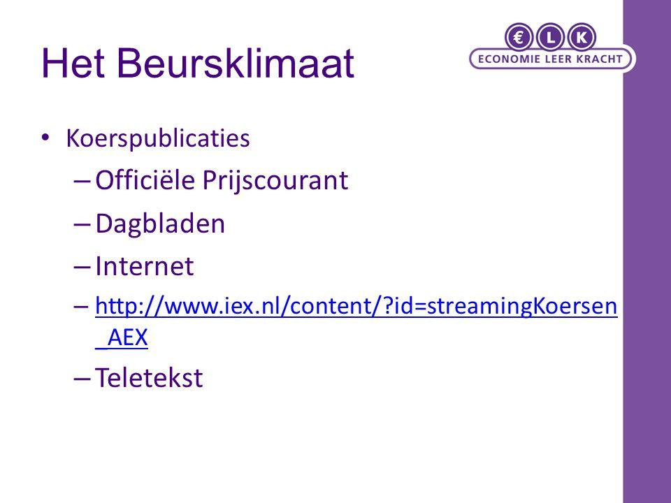 Het Beursklimaat Officiële Prijscourant Dagbladen Internet Teletekst