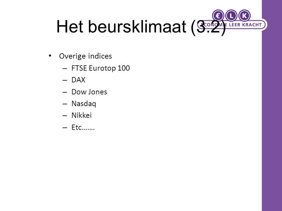 Het beursklimaat (3.2) Overige indices FTSE Eurotop 100 DAX Dow Jones