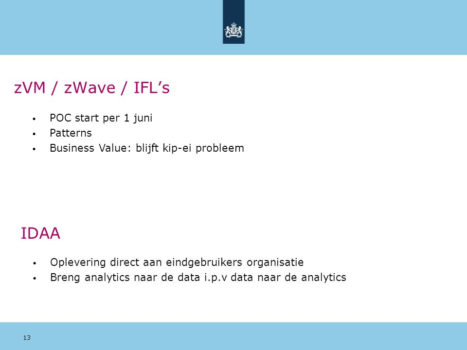zVM / zWave / IFL's IDAA POC start per 1 juni Patterns