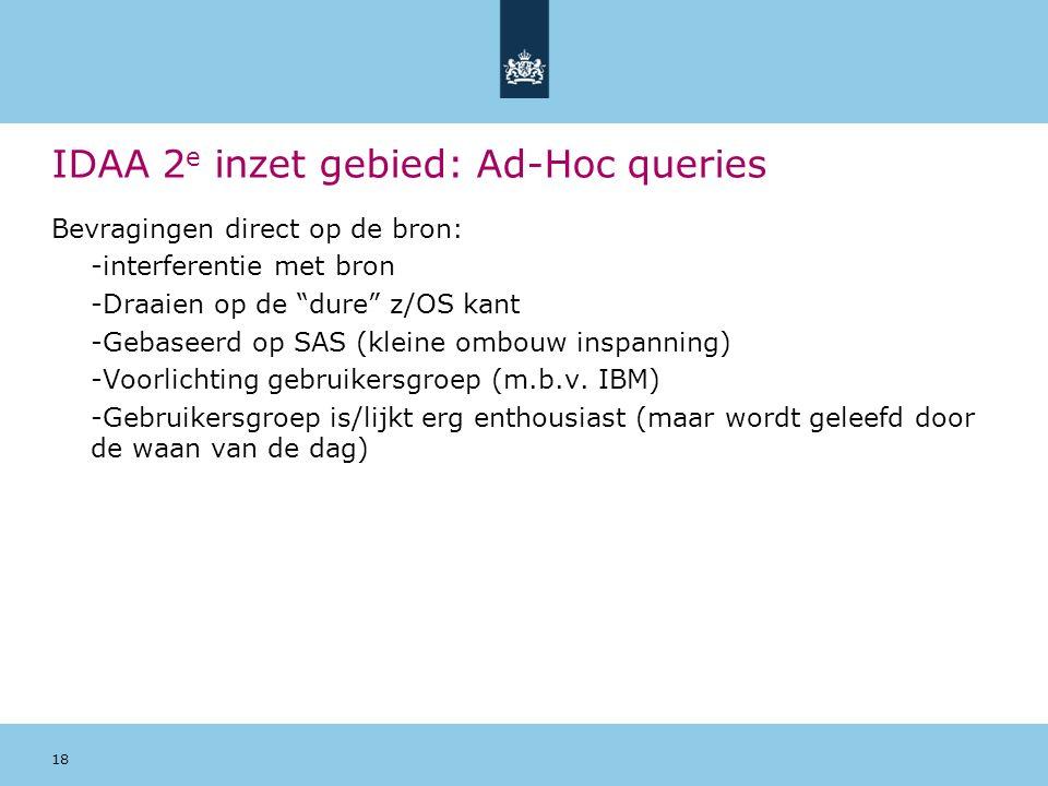 IDAA 2e inzet gebied: Ad-Hoc queries