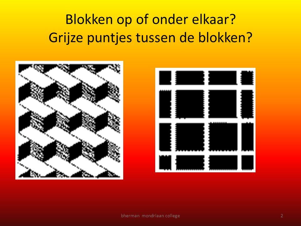 Blokken op of onder elkaar Grijze puntjes tussen de blokken