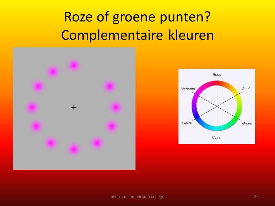 Roze of groene punten Complementaire kleuren