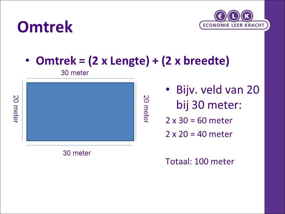Omtrek Omtrek = (2 x Lengte) + (2 x breedte)