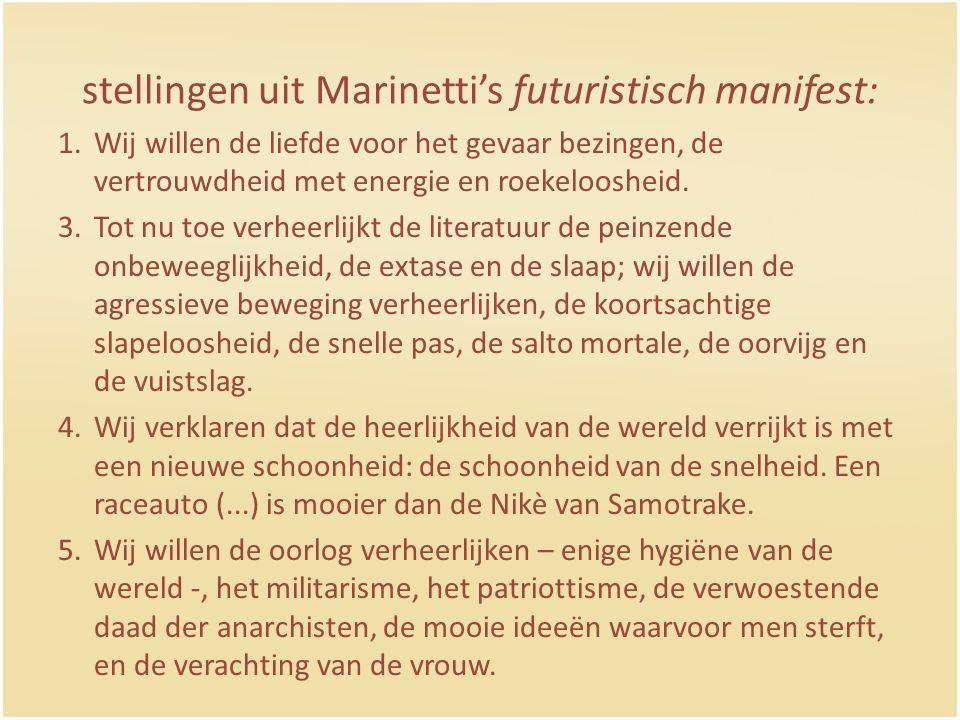 stellingen uit Marinetti's futuristisch manifest:
