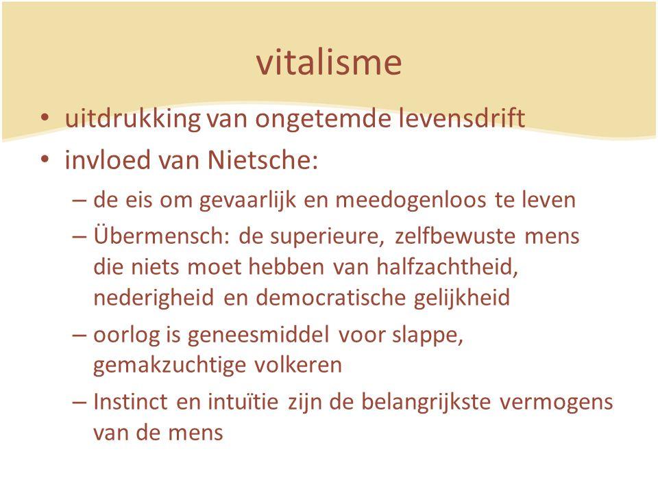 vitalisme uitdrukking van ongetemde levensdrift invloed van Nietsche: