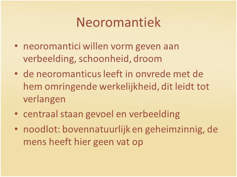 Neoromantiek neoromantici willen vorm geven aan verbeelding, schoonheid, droom.