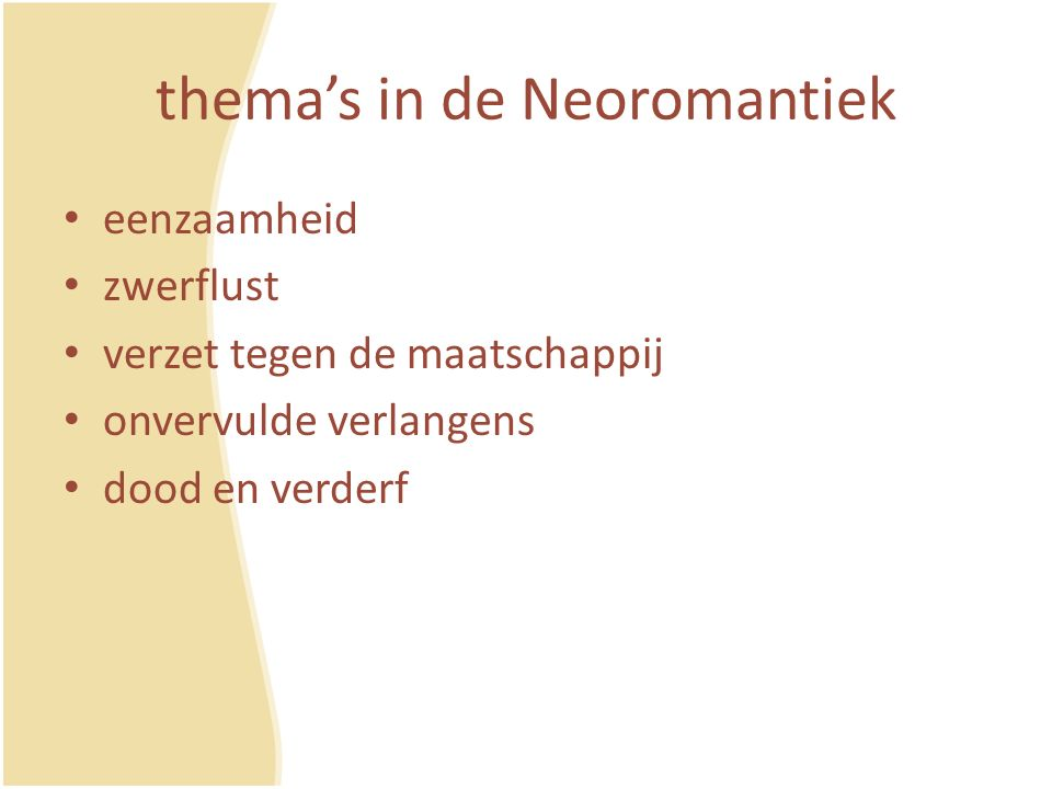 thema's in de Neoromantiek