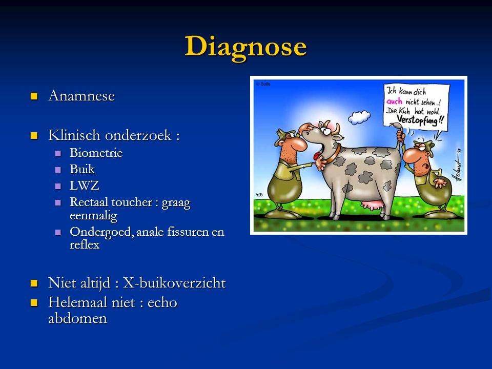 Diagnose Anamnese Klinisch onderzoek : Niet altijd : X-buikoverzicht