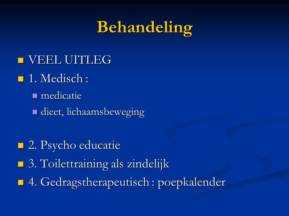 Behandeling VEEL UITLEG 1. Medisch : 2. Psycho educatie