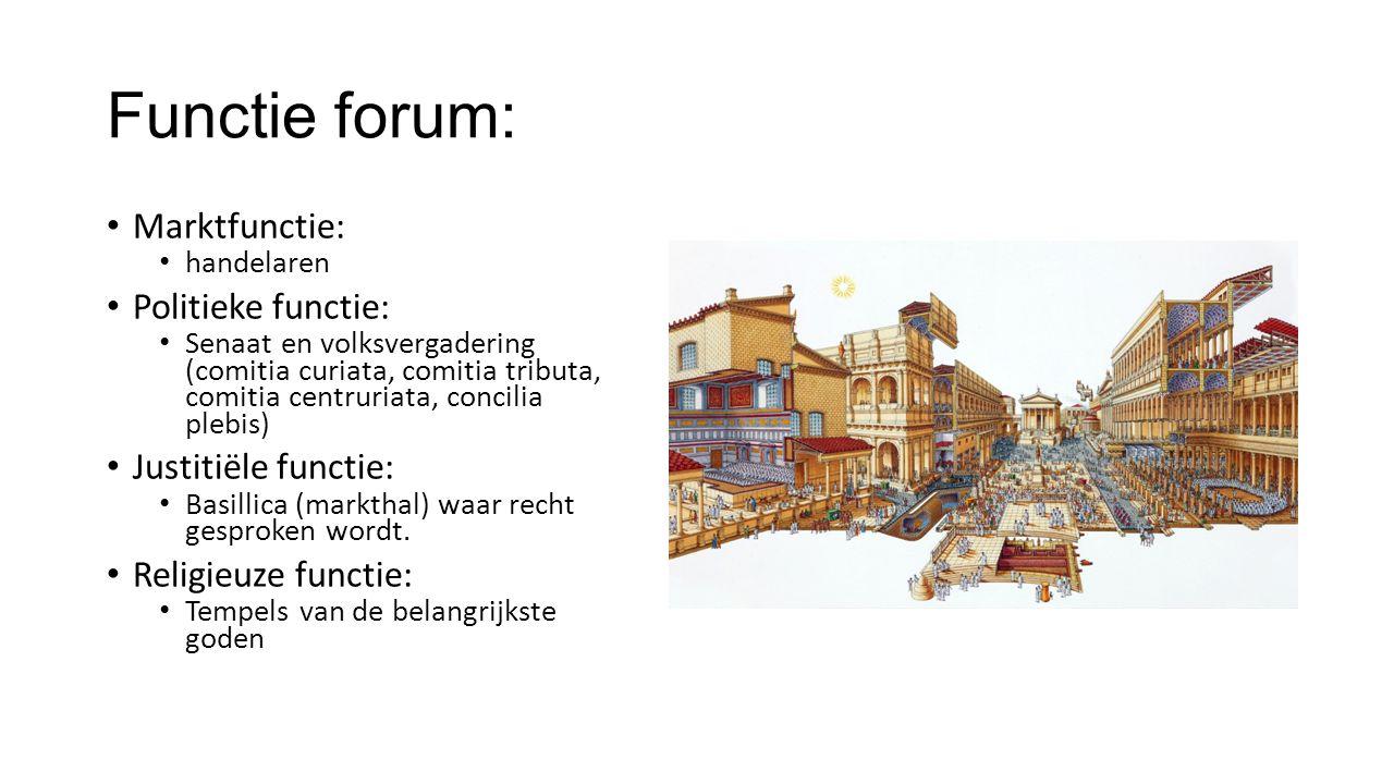 Functie forum: Marktfunctie: Politieke functie: Justitiële functie: