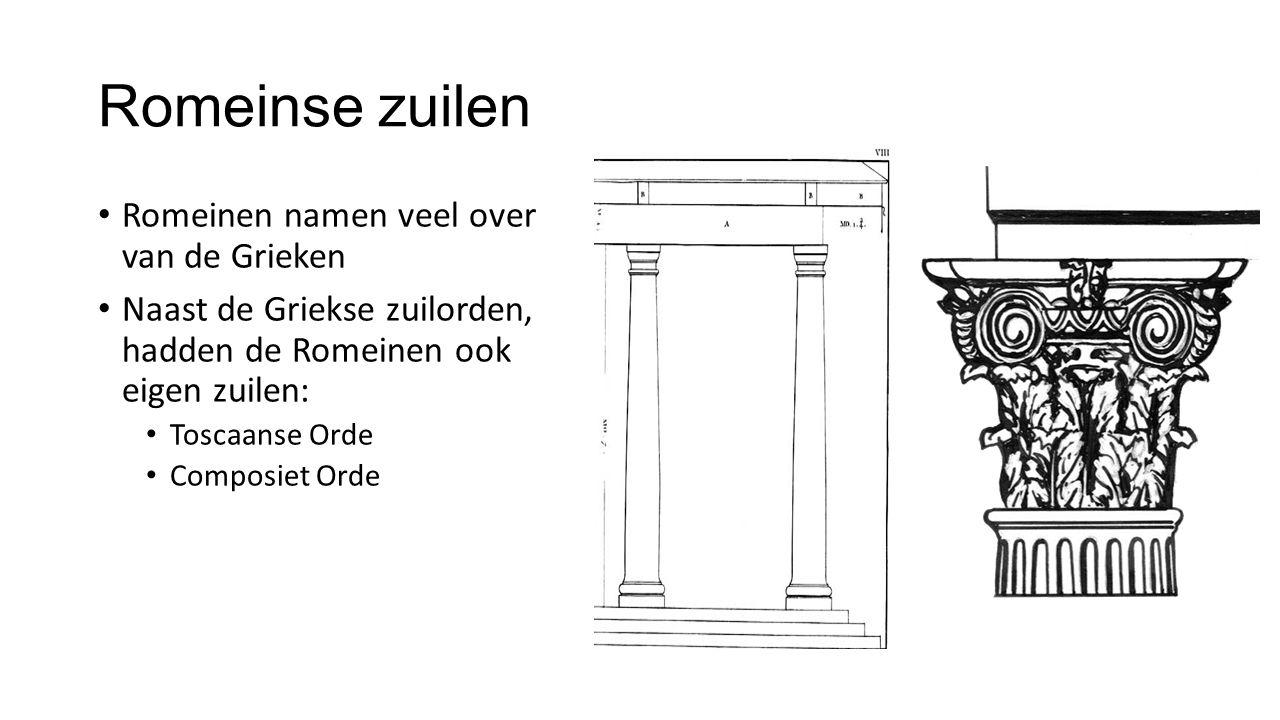 Romeinse zuilen Romeinen namen veel over van de Grieken