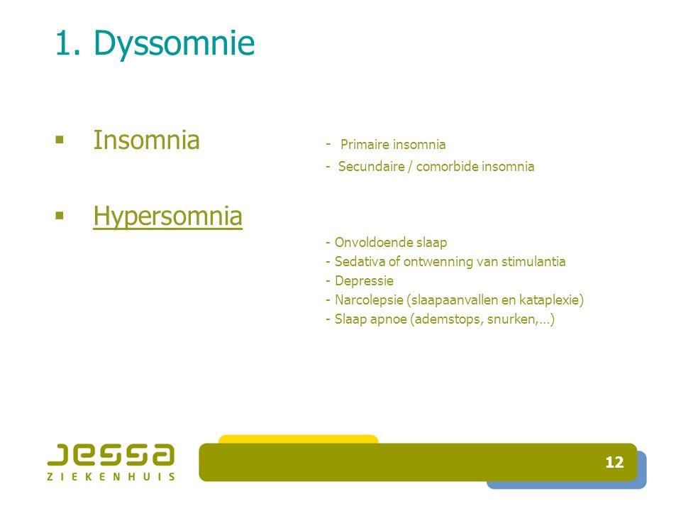 1. Dyssomnie Insomnia - Primaire insomnia Hypersomnia