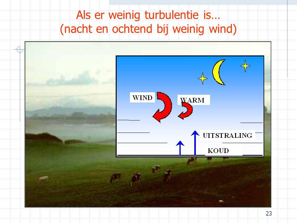 Als er weinig turbulentie is… (nacht en ochtend bij weinig wind)