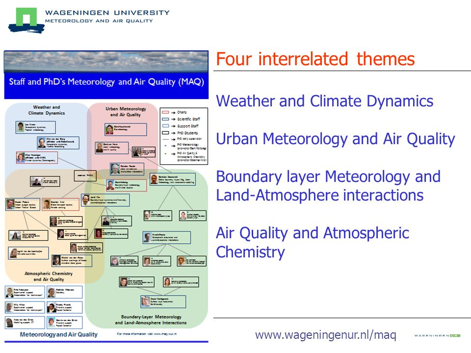 Four interrelated themes Weather and Climate Dynamics Urban Meteorology and Air Quality Boundary layer Meteorology and Land-Atmosphere interactions Air Quality and Atmospheric Chemistry