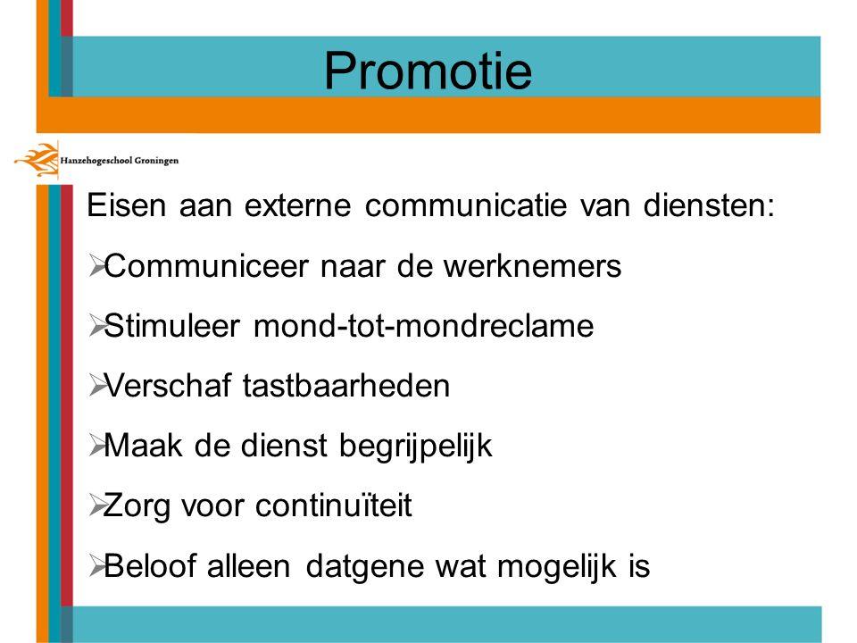 Promotie Eisen aan externe communicatie van diensten: