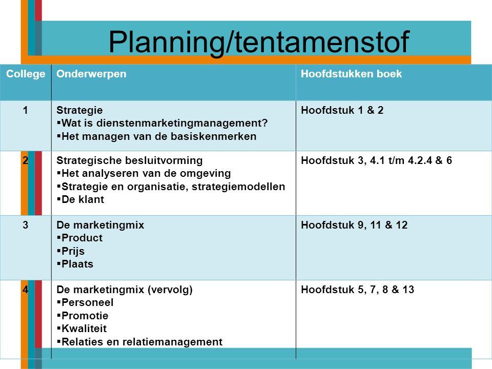 Planning/tentamenstof